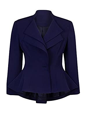 Charles Richards Women's Royal Blue Layered Lapel Ruffle Office Blazer Jacket