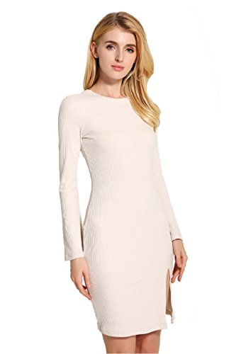 Robe Femme Mode Dos Nu Tricot Slim Beige Acvip Moulante Dresse 5vAqPfAc
