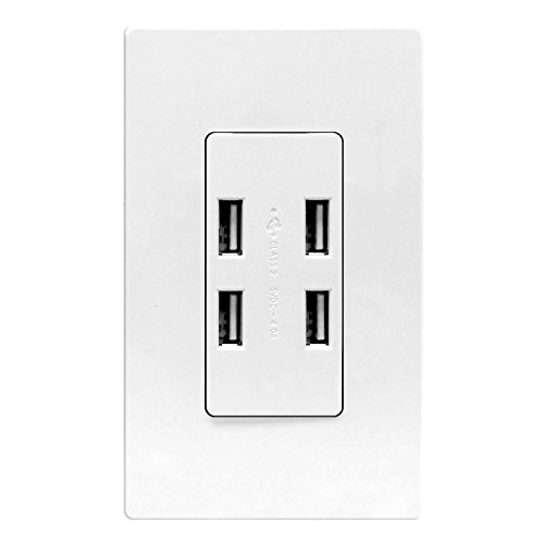 Price comparison product image USB Port Hub by Enerlites, 4-Port USB Outlet, USB Power Outlet, 62000-4USB 4.0A High Speed 4-Port USB Charger Outlet In-Wall, 2 Wall Plates Included, White