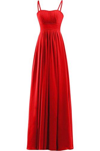 sunvary Prom Noche Empire Vestido de novia sin tirantes de raso ruches Rosso