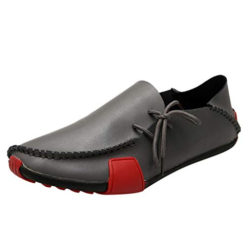 - Flat Loafers for Men,SMALLE◕‿◕ Casual Driving Shoes Leather Slip On Shoes Breathable Stitched Walking Shoes Mocassin Gray