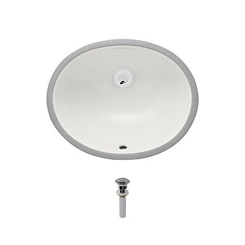 UPS-Bisque Undermount Porcelain Bathroom Sink Ensemble, Chrome Pop-Up Drain by MR Direct