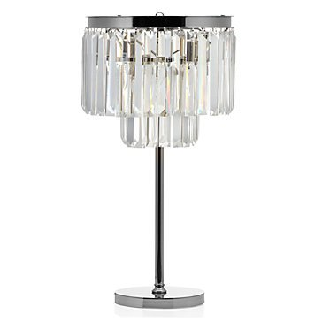 Luxe Crystal Table Accent Lamp Crystal Nickel Plated Iron Frame Glass Fringe Table Lamp