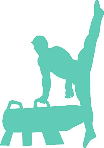 - hBARSCI Male Gymnast - 5 Inches - for Cars, Trucks, Windows, Laptops, Tablets, Outdoor-Grade 2.5mil Thick Vinyl - Mint