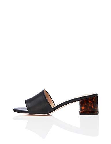find. Women's Block Heel Mule Open-Toe Sandals Black/Tortoise), US ()