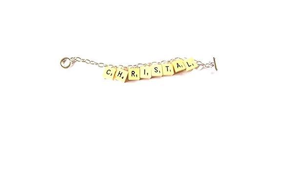 Pulsera del encanto de la vendimia de la con 8 letras de Scrabble de su elección y de la caja de regalo: Debbie Cowan: Amazon.es: Joyería