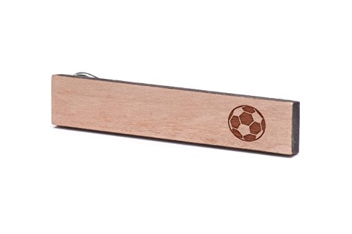 Football Tie Clips - WOODEN ACCESSORIES COMPANY Wooden Tie Clips With Laser Engraved Soccer Design - Cherry Wood Tie Bar Engraved In The USA