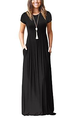 ZIKKER Women Short Sleeve Solid Color Loose Plain Long Maxi Dress Casual Pockets Dresses