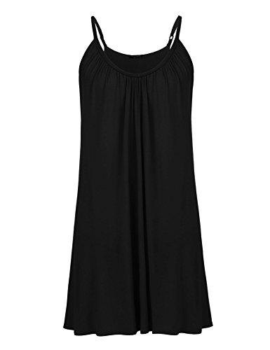 - IN'VOLAND Womens Plus Size Sleeveless Nightgown Sleepwear Summer Slip Night Dress Black