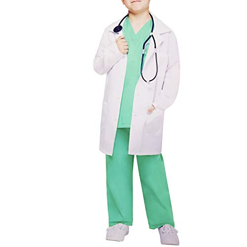 Kids White Lab Coats Suits Dress up Costumes for Scientists or Doctors (Include Coat, Top and Pants) ()
