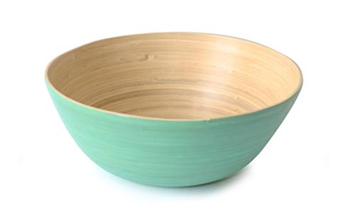 - Avocango Beautiful Round Large Bamboo Serving Salad Fruit Bowl (Turquoise)