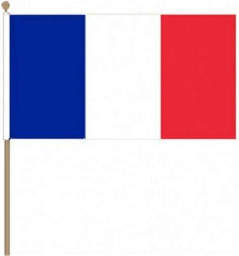 Flagmania® 12 Stück Frankreich 30,5 x 45,7 cm große Handwinkel-Flaggen + 59 mm Button Badge