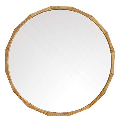 (Solid Wood Wall Mirror Oak Hub Round Makeup Mirror Bathroom Vanity Mirror Contemporary Home Decor 19.7-27.6 Inch for Entryways, Washrooms, Living Rooms and More,Wood Color)