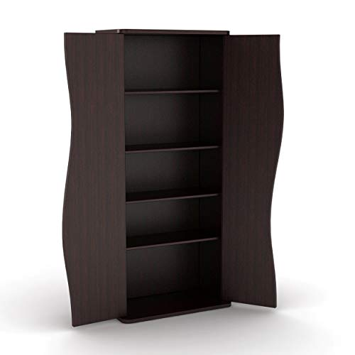 Atlantic Venus Media Storage Cabinet - Stylish Multimedia Storage Cabinet Holds 198 CDs, 88 DVDs or 108 Blu-Rays, 4 Adjustable and 2 Fixed Shelves PN83035729 in Espresso ()