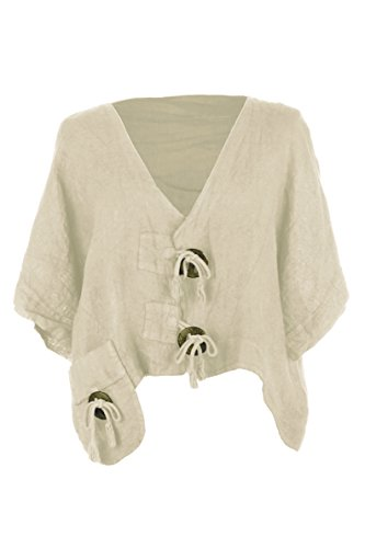 TEXTURE Ladies Women Italian Lagenlook Wooden Button Pocket Crop Linen Jacket Shrug Bolero Cardigan One Size (Beige, One (Linen Shrug)