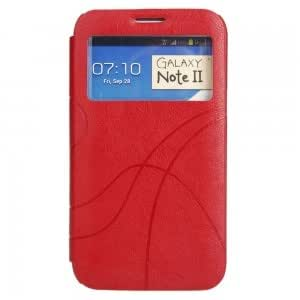 Automatic Wake/Sleep Flip PU Leather and Plastic Protective Case with Embossed Stripes Pattern for Samsung N7100 Red
