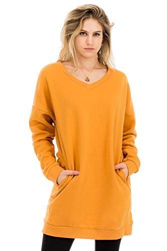 (Women's Casual Loose Fit Long Sleeves Over-Sized Sweatshirts Ash Mustard 3X)