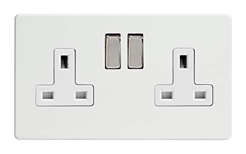 Varilight XIF5CW Freestyle clair 2 Gang Double 13 A Switched Plug Socket