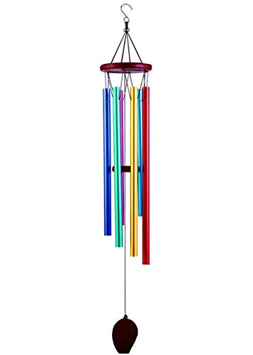 WEISIPU Rainbow Wind Chimes Outdoor Colourful Wind Chime Metal Tubes Music Indoor Windchimes with 6 Colored Pipe Door Bell