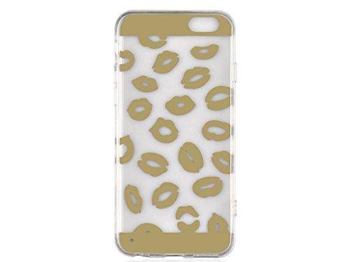 Apple iPhone 6S, 6 Clear Case, Fone-Stuff® - Motif Lip Sexy de protection Gel de couverture en or (Comprend protecteur d'écran)
