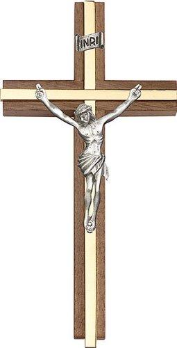 Icecarats Créatrice De Bijoux 6 Pouces Crucifix D'Or Antique, Noyer W / Incrustation De Laiton 6 X 3 Pouces