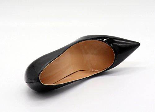 Eldof Femmes De Bureau De Confort Pompes Pompes À Talons Hauts Robe Pour Le Mariage Patry / 8cm Noir
