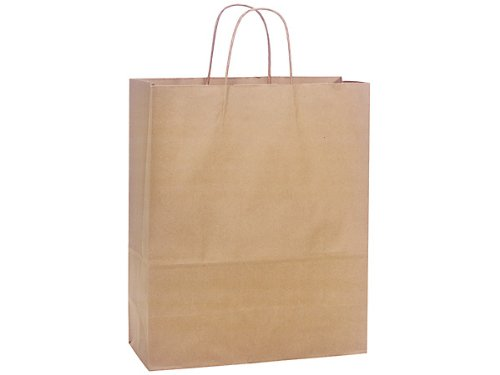 Brown Kraft Shopping Bags - Medium Natural Kraft Shopping Bags Bulk 13x6x15-1/2'' (250 bags) - WRAPS-MEDKR by Miller Supply Inc