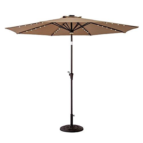 C-Hopetree 11ft Solar Power LED Light Outdoor Parasol Patio Market Umbrella with Crank Winder, Push Button Tilt, Beige (Tilting Parasol)