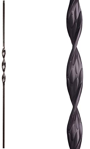 (Satin Black 16.1.5 Single Ribbon Solid Iron Baluster for Staircase Remodel, Box of 5)
