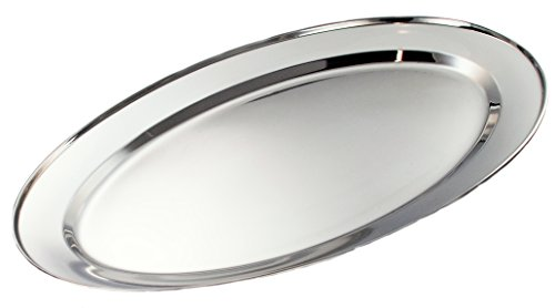 (Buckingham Stainless Steel, Oval Tray Plate, Meat Platter, Serving Dish 55 cm, 55 x 38 x 3 cm)