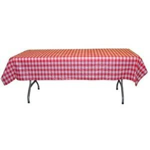 Red Gingham Plastic Disposable Table Cover (Rectangluar - 54in. W x 108in. L)