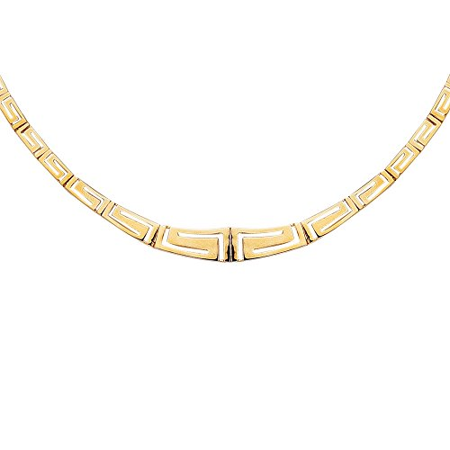 Finejewelers 14 Kt Yellow Gold 17 Inch Graduated Greek Key Fancy Necklace with Box Catch Clasp