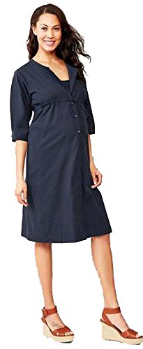 GAP Maternity Navy Seersucker 3/4 Sleeve Shirt Dress XS