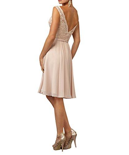 Jugendweihe Elegant La Knielang Abendkleider Spitze Brau Salbei Brautjungfernkleider Partykleider Kleider V mia Kurzes Ausschnitt f8qwEfRg4
