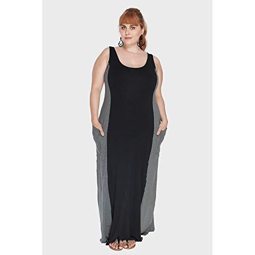 Vestido Longo Com Bolso Plus Size Preto-46