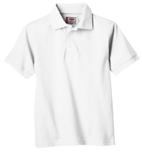 Dickies Little Boys' Short Sleeve Pique Polo Shirt, White, Large -