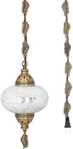 DEMMEX 2019 Swag Plug in Turkish Moroccan Mosaic Ceiling Hanging Light Lamp Chandelier Pendant Fixture Lantern, Hardwired OR Plug in with 15feet Cord Chain PlugIn17