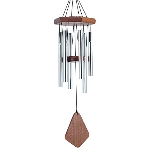 Sinfinate 25 Inch Small Wind Chimes Outdoor, Memorial Chimes with 6 Tubes as Remembrance Gift to Honor and Remember Peoples, Outdoor Décors for Home, Patio, Garden, Yard, Metal Wind Chime-Silver