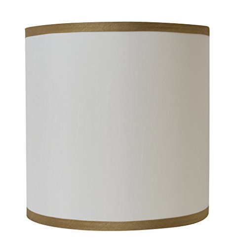 Urbanest Off White with Gold Trim Faux Silk Classic Drum Lampshade, 12-inch by 12-inch by 10-inch, Spider Washer Fitter - Gold Drum Shade