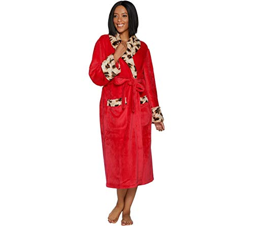 Dennis Basso Womens Plush Robe with Leopard Faux Fur. H213176 Red XS from Dennis Basso