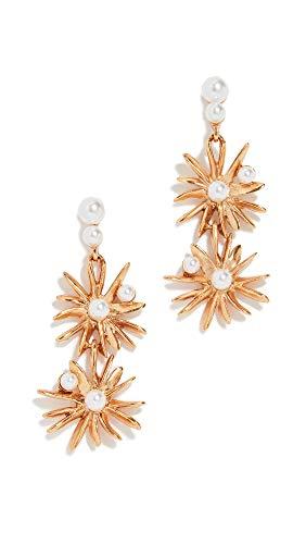 Oscar de la Renta Women's Classic Swarovski Crystal Pearl Starburst Earrings, Gold/Pearl, One -