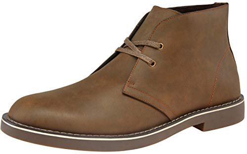 JOUSEN Men's Boot Classic 2 Eyelets Leather Chukka Desert Boots (9,Brown)