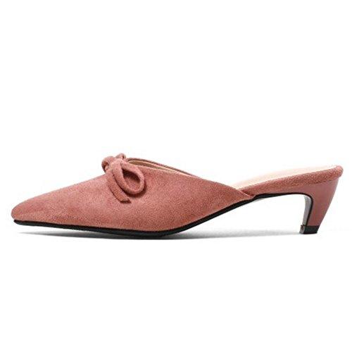 A TAOFFEN Fiocco Donna Punta Scarpe Mules Pink Sandali zzvqW5