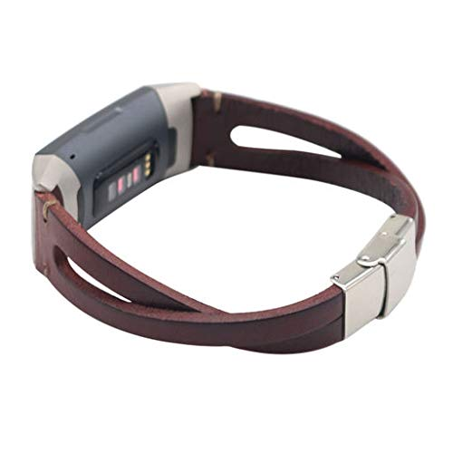 2019 Great Best Gift !!! Cathy Clara Fashion Style Genuine Leather Watch Band for Fitbit Charge 3,Replacement Leather Wristband Band Strap Bracelet for Fitbit Charge 3