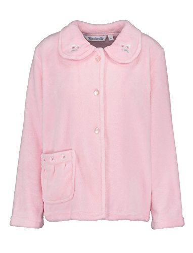 Slenderella Ladies Bed Jacket Floral Embroidered Collar Coral Fleece Button up Housecoat Large -