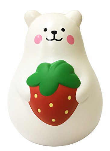 ibloom Slow Rising [Squishy Collection] Marshmallow Bear Mini Mr. White Strawberry [Scented] Animal Squishy Kids Cute Adorable Doll Stress Relief Toy Decorative Props [Red]