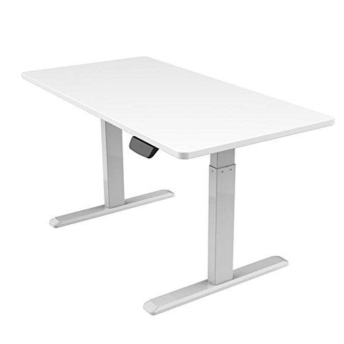 KIMEX 150-2414K Escritorio motorizado Sentado/de pie, Altura Ajustable 62-128 cm, Medidas Tablero 140 x 75 cm, Color: pie Gris-Tablero Blanco