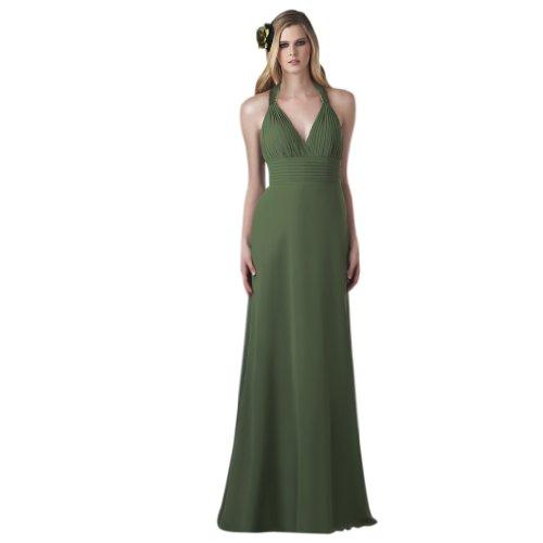 V Kleidungen Bodenlang Abendkleider Ausschnitt Dunkelgruen Chiffon Linie Damen A Aermellos Dearta gqwTFpIHxw