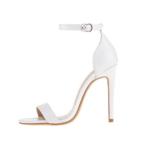Women's Heeled Sandals Buckled Ankle Strap Dress Sandals Stilettos Open Toe High Heel For Wedding Party Evening Shoes Patent Leather White Size 8 (White Heel Sandals High)