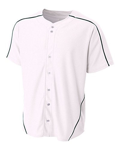 A4 Sportswear White Jersey with Navy Blue Piping Youth XL (Blank) Full-Button Baseball Wicking Jersey